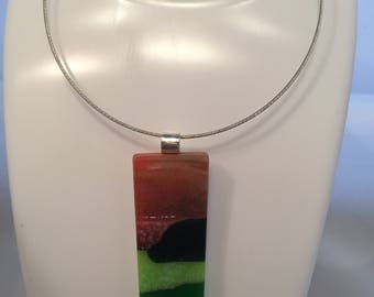 Fused glass choker necklace