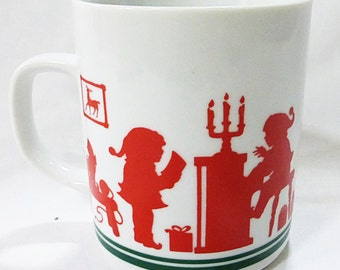 Avon christmas holiday red silhouette mug 1984 santa and elves