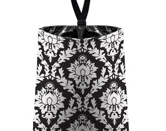 Car Trash Bag // Auto Trash Bag // Car Accessories // Car Litter Bag // Car Garbage Bag - Black Damask // Car Organizer