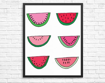 Watermelon Wall Art//Print - Kitchen//Summer Print - Colorful - Fruit - Wall Print//Digital Download//Printable