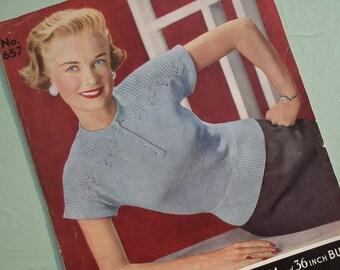 Vintage Knitting Pattern 1940s 1950s Women's Sweater Jumper 40s 50s original knitting pattern Bairns-Wear 657 short cap sleeves lace detail