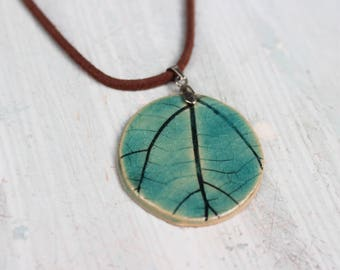Blue Leaf Plant Pendant Necklace with Leaf Imprint Jewelry, Turkish Blue Pendant, Vegans Gift Ideas, Gift for Women Mother Wife Daughter