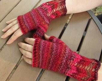 Colorful Wool Chevron Lace Knit Fingerless Mitts Women's Unique Gloves M/L