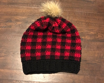 Buffalo Plaid Slouchy Hat