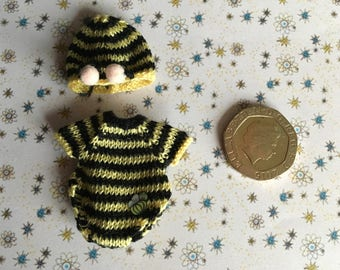 Dollshouse 1/12th miniature hand knitted toddler doll Bumblebee outfit