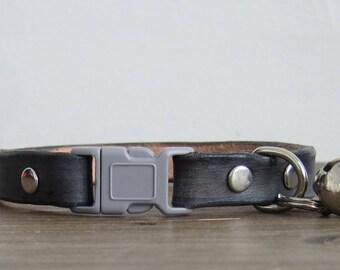 Grey Leather Cat Collar - Custom Breakaway Safety Leather Cat Collar