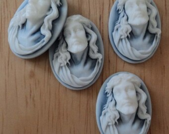 25mm x 18mm oval Jesus Crown of Thorns blue resin cameos 4 pieces lot l X N
