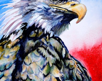 Patriotic Eagle, Patriotic art, Patriotic decor, Eagle art, Eagle painting, Bird watercolor painting, bird watercolor art, eagle wall art