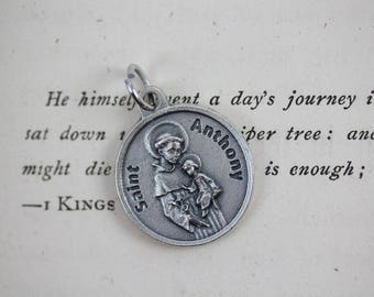 Saint Anthony Prayer Petition Medal - Patron Saint of Lost Objects - Catholic Jewelry Supply Made in Italy (M56)