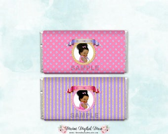 Candy Bar Wrapper Full Size | Pink Purple & Gold Princess | African American Baby Girl Bun | Printable Digital Instant Download