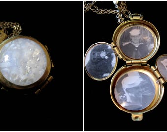Fire and Ice - Vintage 4 Picture Locket Necklace