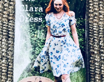 Sew Liberated #118  Women's Sewing Pattern for the Clara Shirtwaist Dress Keyhole Sleeve In-seam pocket twirly skirt elastic waist Uncut NEW