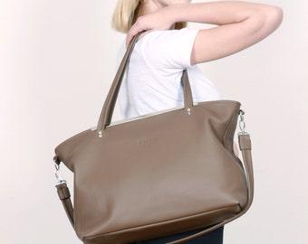 Big Leather Bag,Leather Purse mud,Shopper mud,leather Tote Bag, DIANA BAG MUD