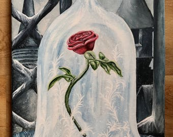 Beauty and the Beast rose painting