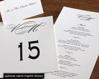 Black Tie Menu, Table Marker & Place Card Set