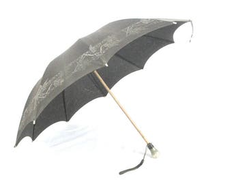 Antique Victorian Mourning Parasol / Black Umbrella / Asian Influence / Gothic Steampunk