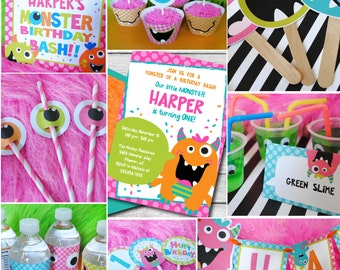 INSTANT DOWNLOAD, Monster Bash Birthday Girl, Party Package, You Edit in Adobe Reader!