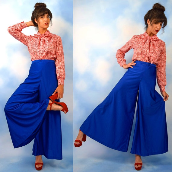 Vintage 70s Royal Blue High Waisted Ultra Wide Legged Palazzo Pants (size xs)