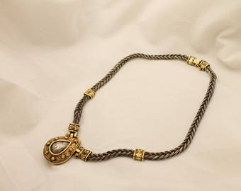 Antioch signed Etruscan style Sterling Silver Gold Two tone Pendant Necklace
