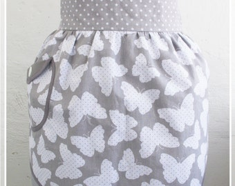 Polka-dots apron Retro half apron Gray aprons Womens aprons Vintage apron Pin up Apron Kitchen decor Gift for mom