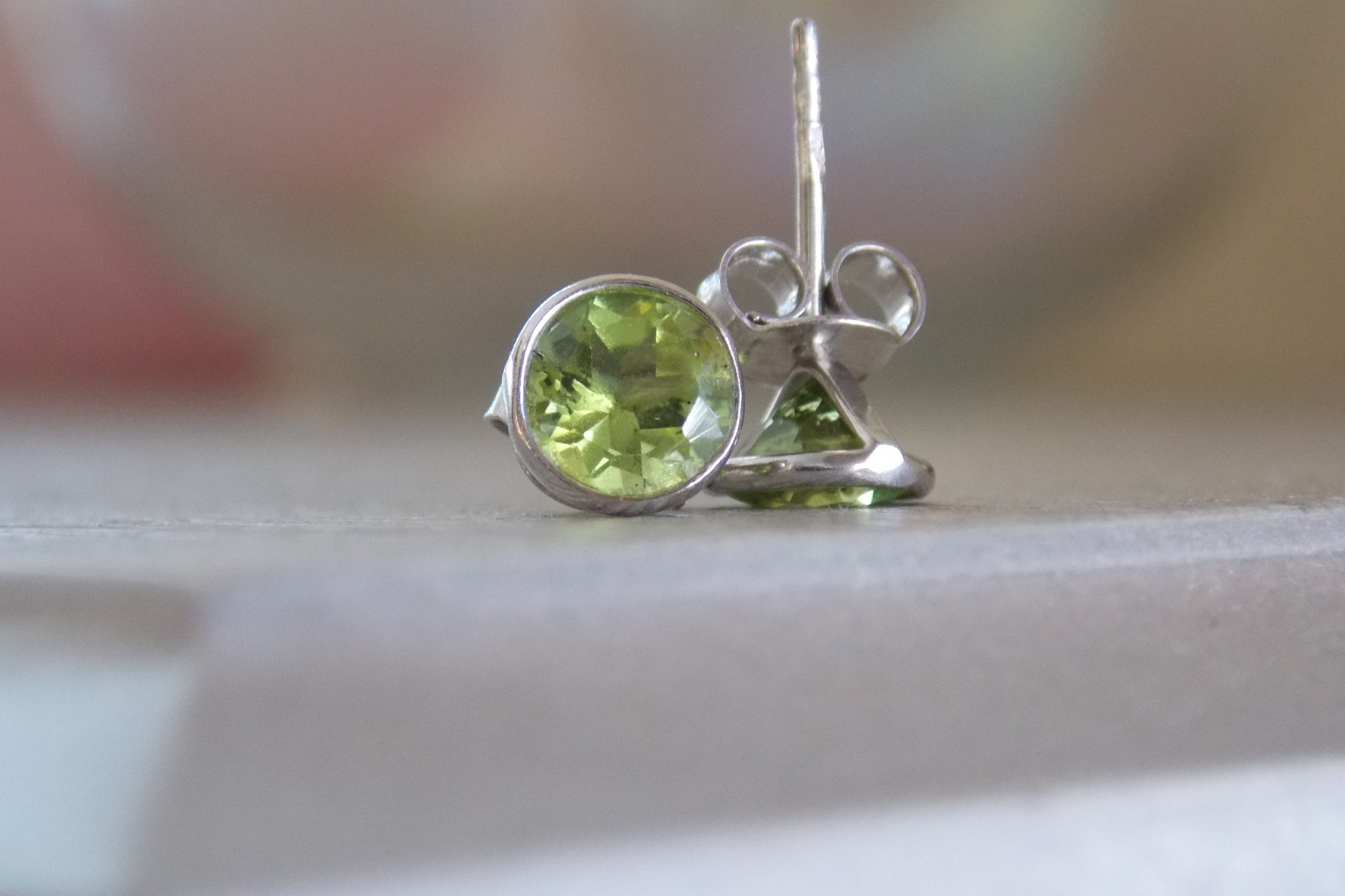 il silver earrings peridot stud sterling listing fullxfull