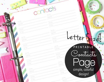 Printable Contacts Planner Page, Letter Size - INSTANT DOWNLOAD -  Phone Numbers, Address Book, colorful