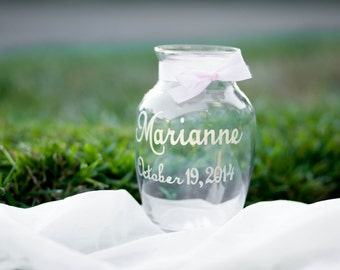 Personalized Vase Engraved with Name and Date, Wedding Decor, Bridesmaid Gift, Wedding Table Decor, Flower Vase, Your Choice of Ribbon Color