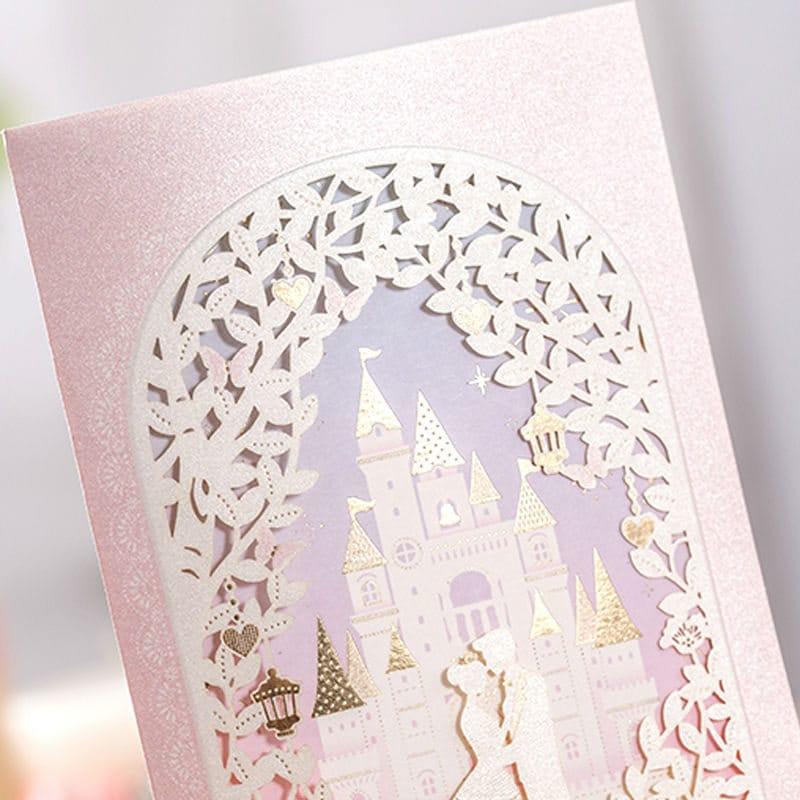 12 Pink Cinderella Wedding Invitations/Castle Wedding Invitation ...