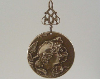 ART NOUVEAU-  Vintage Pendant - Brass Pendant - Flower Fairy -DIY Necklace - Handmade