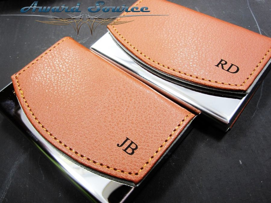 Personalized business card holder leather business card zoom reheart Images