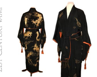 1920s Gold Dragon Kimono with Tassels and Original Sash. Jazz Age. Flapper. Art Deco. Robe.