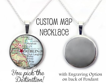 Map necklace etsy sterling silver custom map necklace you pick the destination map pendant with optional engraving gumiabroncs Gallery