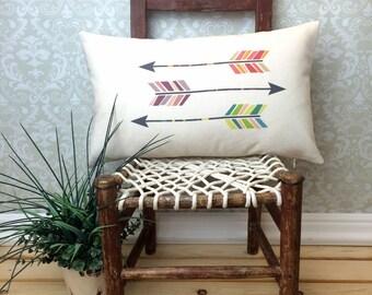 Three Arrows Oblong Pillow, Arrowhead Pillow, Gift, Home Decor, Colorful Arrowheads, Decorative Pillow, Native Art