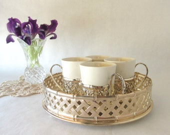 Vintage Espresso Set / Staffordshire England / IS Footed Tray / Cup Holders / Basketweave