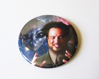 Giorgio Tsoukalos Ancient Aliens Outer Space Button OR Magnet -- 2.25 inch