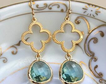 Prasiolite Earrings Green Gold Clover Quatrefoil Earrings - Bridesmaid Earrings Jewelry Bridal Earrings - Wedding Earrings