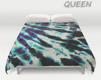 Duvet Cover-Comforter Cover-Tie Dye Bedding-Purple Blue Black -Blanket Cover-King Queen Full Twin