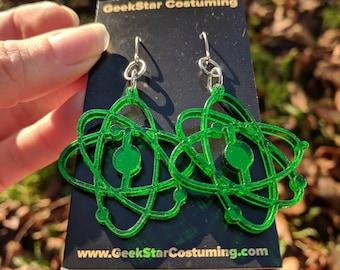Green Atom Earrings, Science Geek Jewelry