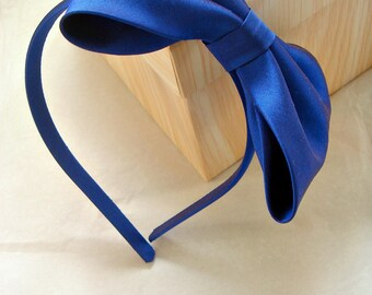 Royal blue dupioni silk alice band with large bow by Agnes