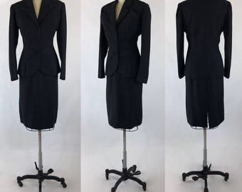 1950's Custom Made Designer Inspired Smokey Charcoal Wool Suit with Dramatic Dimensional Pocket Details | Size Medium