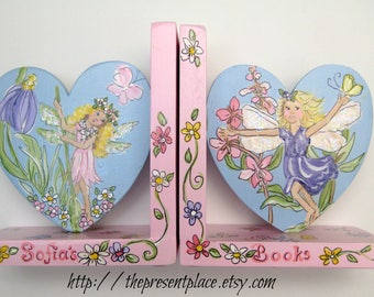 Diona Teh Custom order for fairies and flowers,hand painted, personalized bookends