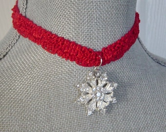 Red Choker Necklace - Silver Crystal Snowflake Charm - Hipster -  Christmas Necklace - Holiday Jewelry - Gift for Her - Snowflake Necklace