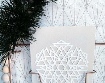 Card paper cut geometric pattern, paper, pattern winter snowflake, greeting, postcard handmade, unique postcard