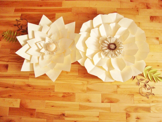 2 Giant Paper Flowers Paper Flower Decor Flower Wall Decor