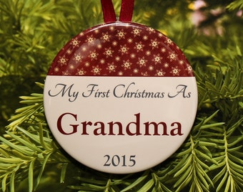 First Christmas As Grandma Ornament - Burgundy Cream - C068