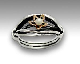 Sterling silver ring, engagement ring, gold flower ring, single pearl ring, floral ring, woodland ring, engagement ring - white field R1516A