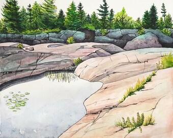 Watercolor landscape painting, Canadian Lake, original art