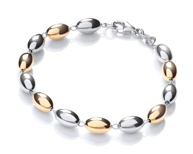 """Two Colour Gold Plated & Silver Oval Beaded 7"""" Link Bracelet"""