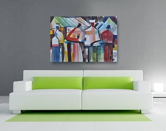 Family Canvas, African American Art, Canvas Art, Canvas Wall Art,Home Decor