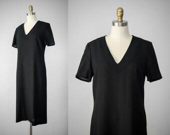 minimal black dress | black wool dress | thin wool dress | oversized dress | black shift dress | vintage wool dress